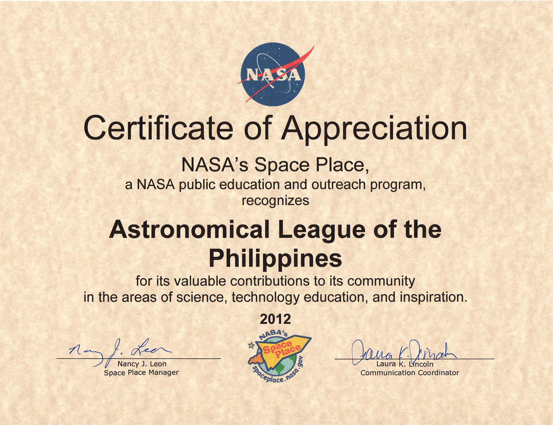 Astronomical league of the philippines inc alp certificate letter yadclub Gallery